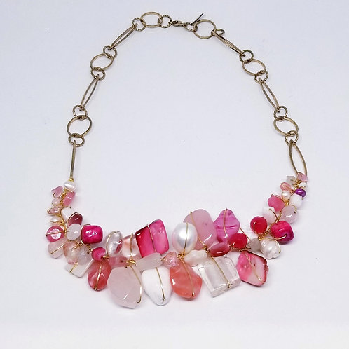 pink white gem section necklace gw