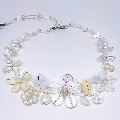 white moonstone clear gem flower collar sw