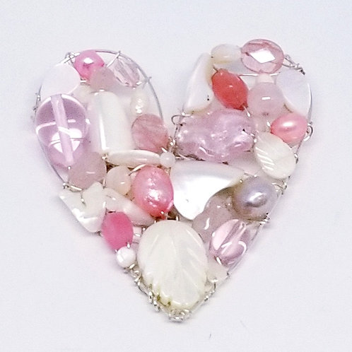 pink white gem heart pin/pendant sw