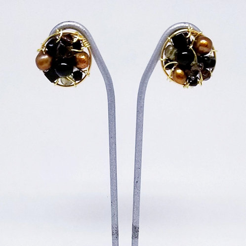black brown gem button earring gw
