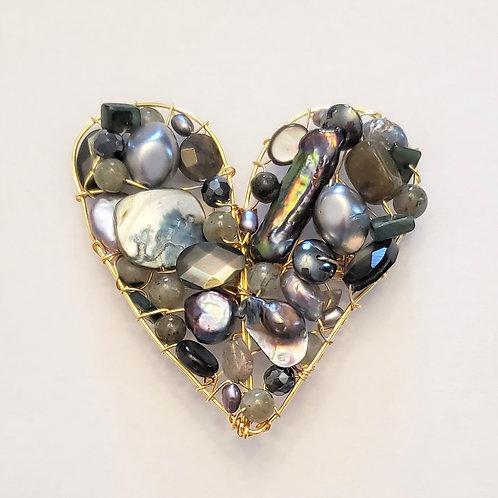 grey gem heart pin/pendant gw