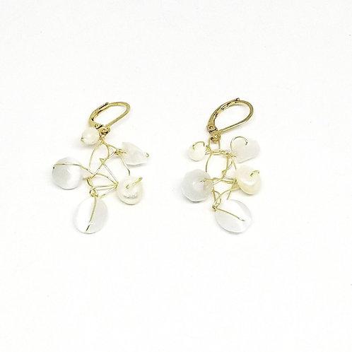 white pearl web earring gw