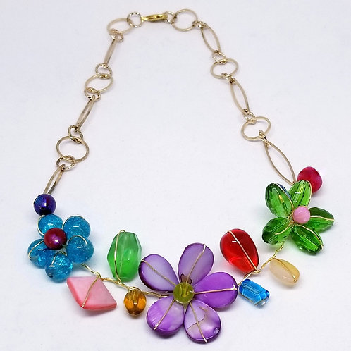 multi gem flower section necklace gw