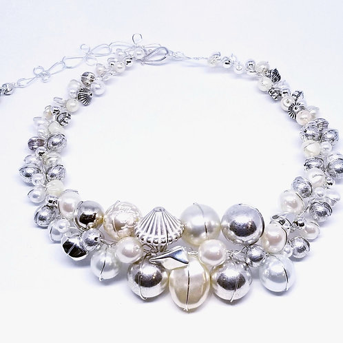 Silver Pearl Large collar sw