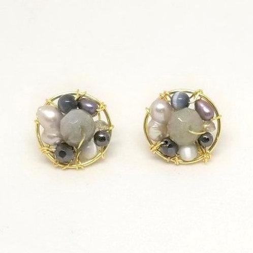 grey gem button earring gw