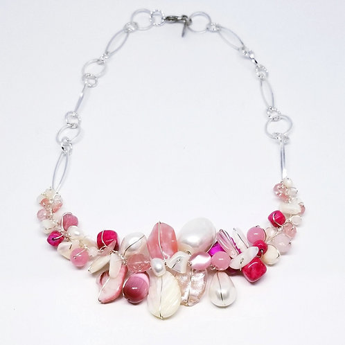 pink white gem section necklace sw