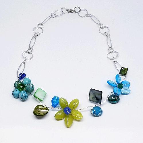 blue green gem flower section necklace sw