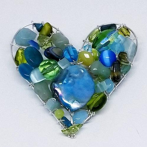 blue green gem heart pin/pendant sw