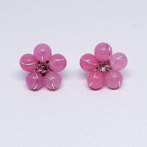 purple gem flower earring sw
