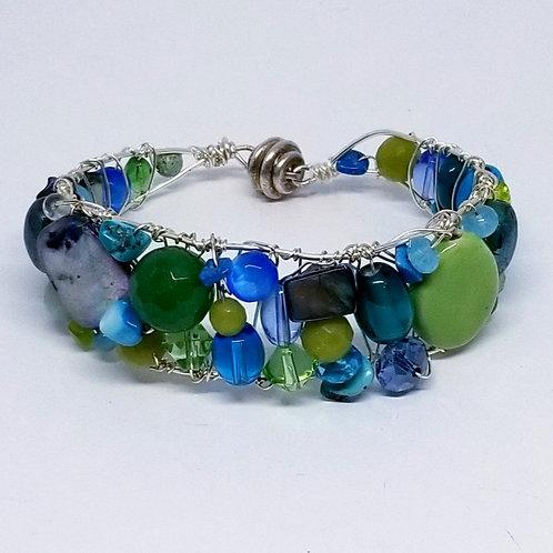 blue green gem cuff bracelet sw