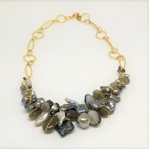 grey gem section necklace gw