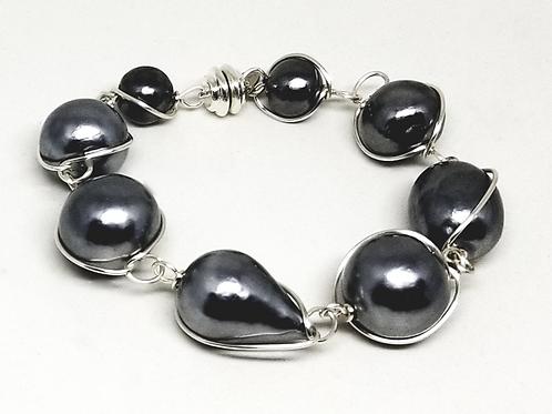 hematite cotton link bracelet sw