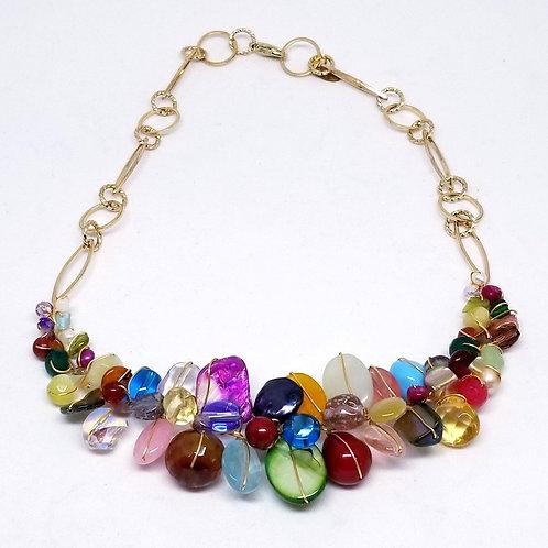 multi gem section necklace gw