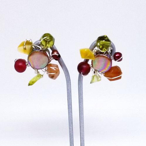 spice gem cluster earring sw