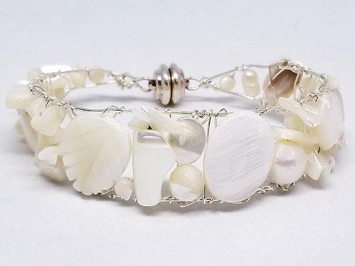 white pearl gem cuff bracelet sw