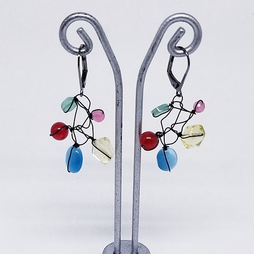 multi gem web earring bw