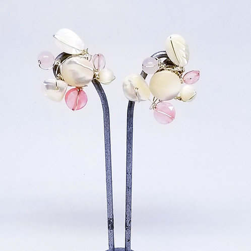 pink white gem cluster earring sw