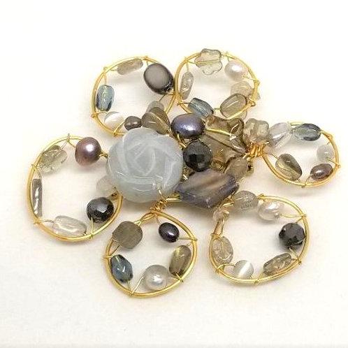 grey gem flower pin gw