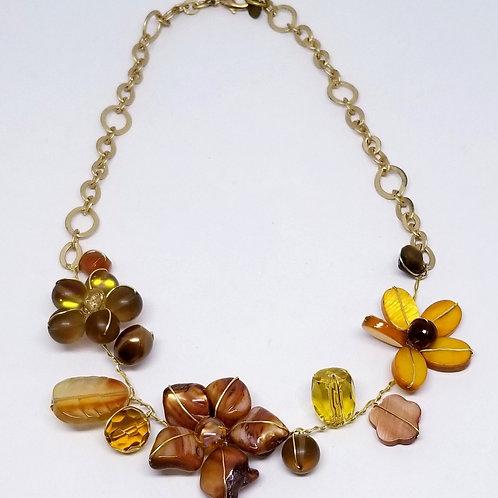 fall gem flower section necklace gw