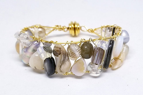 beiges gem cuff bracelet gw