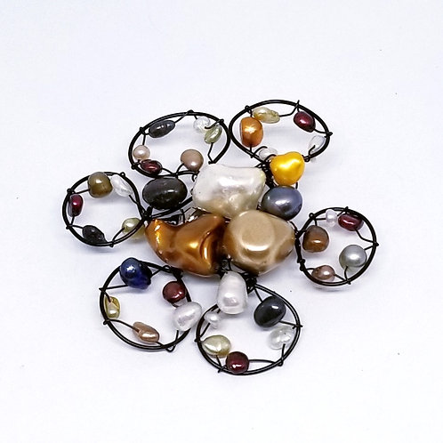 multi pearl flower pin bw