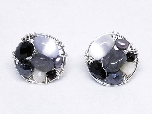 black white winter gem button earring sw