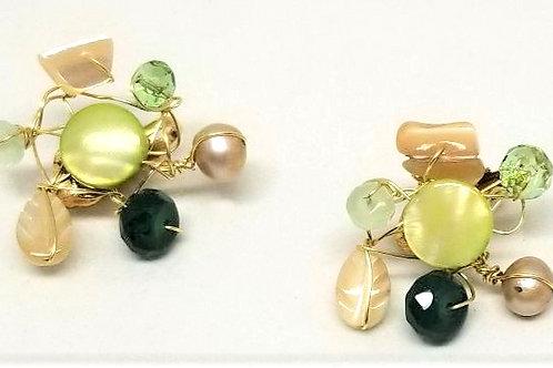 beige green gem cluster earring gw