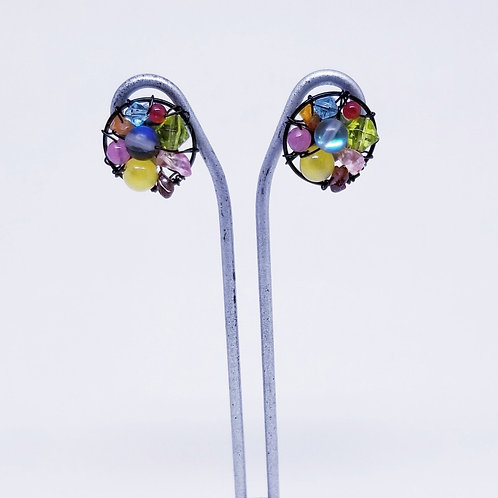 multi gem button earring bw