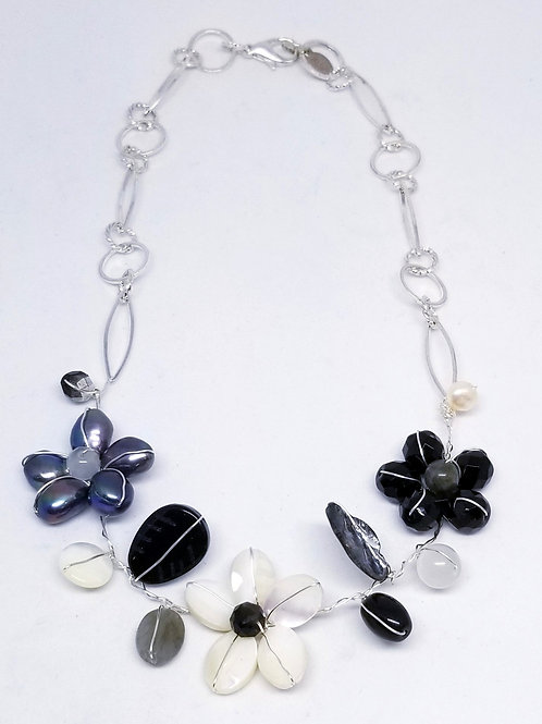 black white winter gem flower section necklace sw