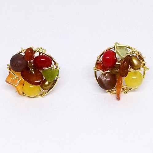 spice gem button earring gw