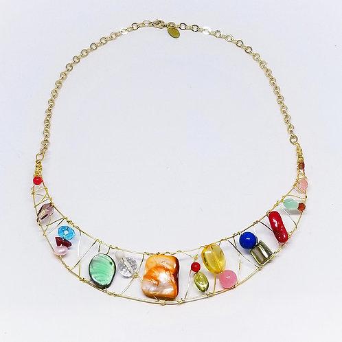 multi gem crescent moon necklace gw