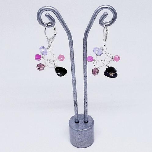 purple gem web earring sw