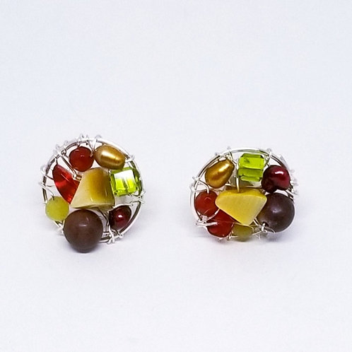 spice gem button earring sw