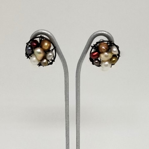 multi pearl button earring bw