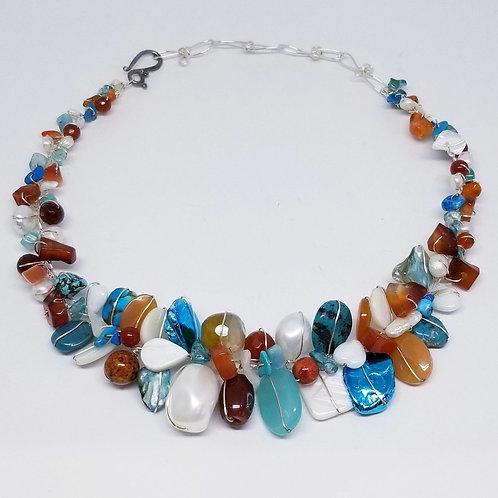 blue brown white gem large collar sw