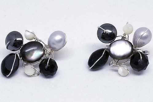 black white grey gem cluster earring sw