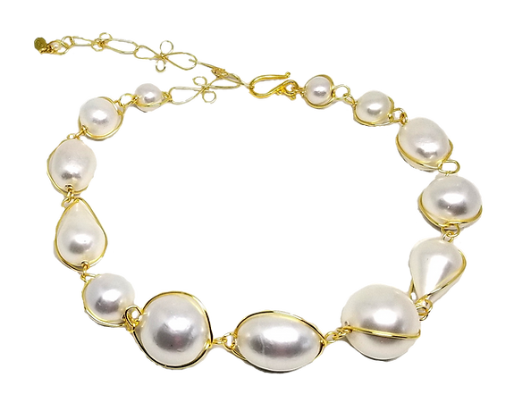 Abra Couture Best Seller White Cottonball Necklace