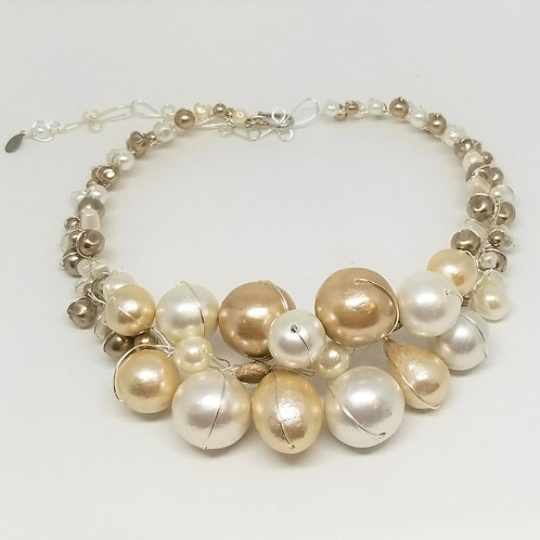 Beige White Cottonball Jumbo Collar sw