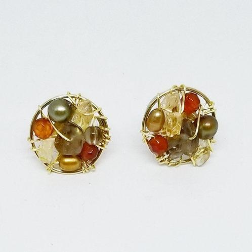 fall gem button earrings gw