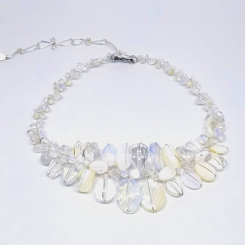 white ab clear gem large collar