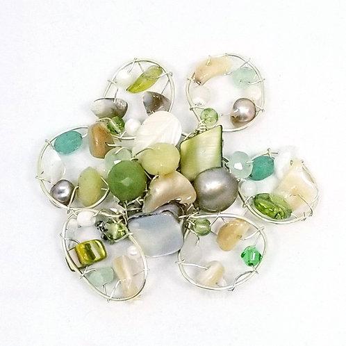 beige green white gem flower pin sw