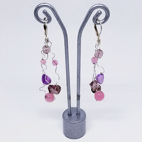 purple gem wiggle earring sw