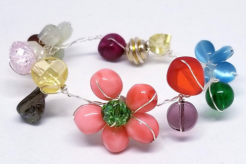 multi gem flower bracelet sw