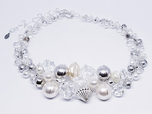 Clear Pearl Silver Large collar sw