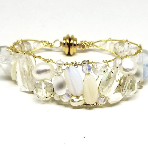 white moonstone clear gem cuff bracelet gw