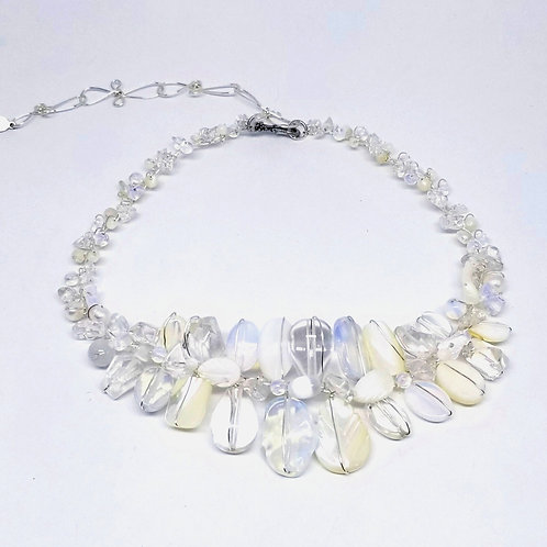 white moonstone clear gem large collar sw