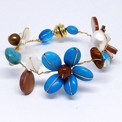 blue brown white gem flower bracelet gw
