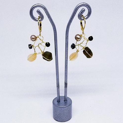 black beige grey gem web earring gw