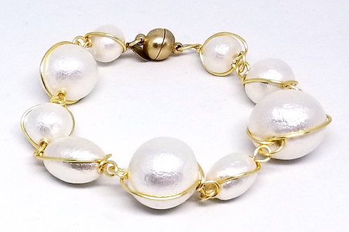 white cotton link bracelet gw