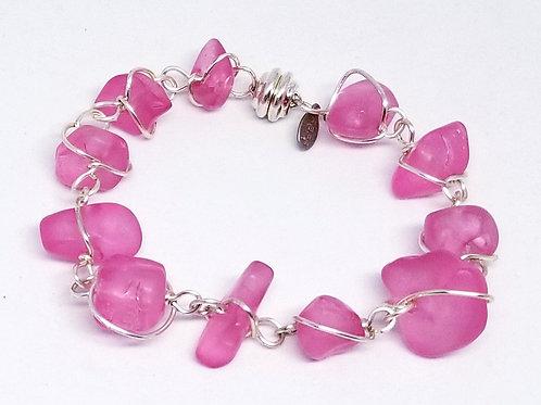 matte rasberry nugget link bracelet sw